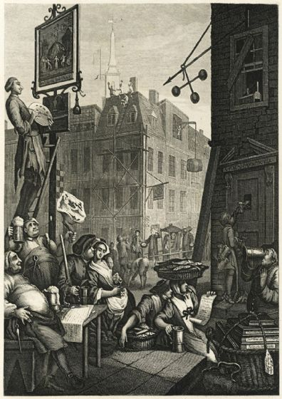 Hogarth, William. Beer Street. Fine Art Print/Poster. Sizes: A4/A3/A2/A1 (00232)